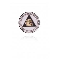 Луксозна значка Славия Плетеница с девиз - бяла с черни букви